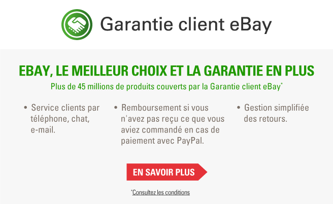eBay, le meilleur choix et la garantie en plus. Plus de 45 millions d'articles couverts par la Garantie client eBay.