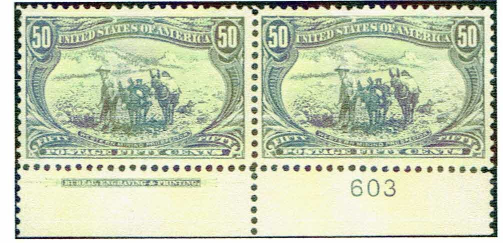 50 Cent Trans-Mississippi Imprint Plate Number Pair