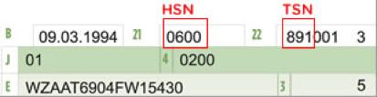 Wenn Ihr Fahrzeugschein am oder nach dem 1. Oktober 2005 ausgestellt wurde, finden Sie die HSN im Abschnitt 2.1, die TSN im Abschnitt 2.2.