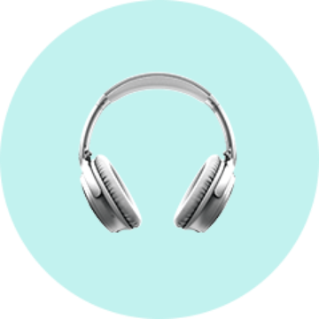 Doorway image of silver over-the-ear headphones