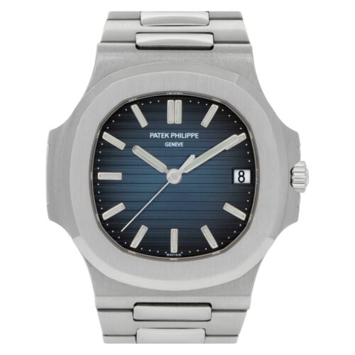 A silver Patek Philippe watch with a blue dial.