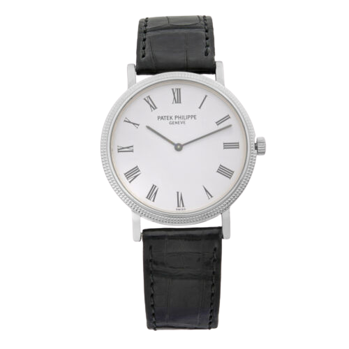 A silver Patek Philippe watch with black leather straps and white dial.