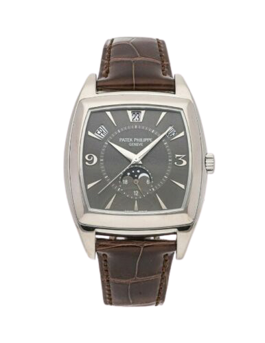 A brown textured leather strap Patek Philippe watch with brushed silver accents.