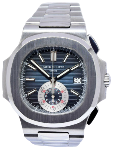 A silver Patek Philippe watch with a blue face and silver accents.