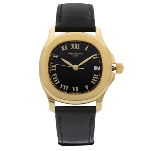 A gold Patek Philippe watch with a gold accents.