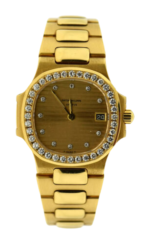 A diamond studded Patek Philippe watch with gold accents.