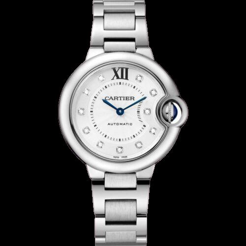 The cartier ballon bleu stainless steel watch.