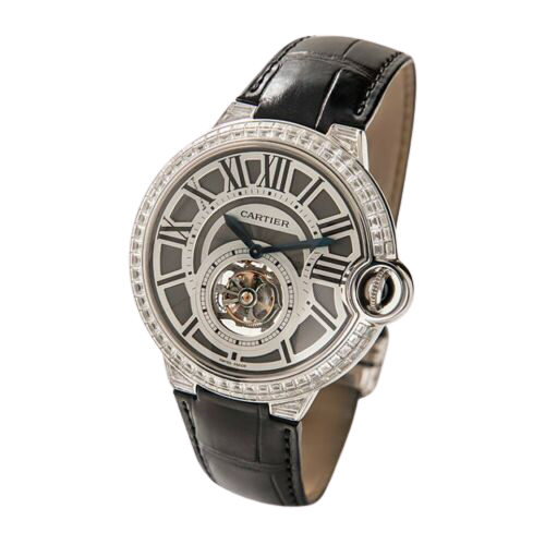 A cartier watch with a grey face and silver accents.