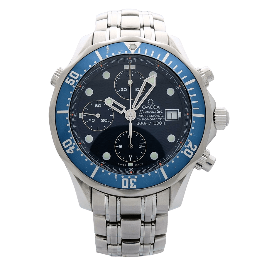 A silver omega-seamaster watch with a blue face and black dial.