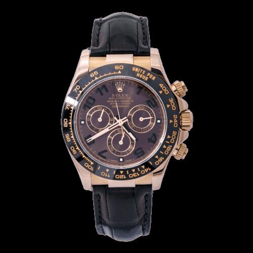 A black Rolex watch with a black Strap