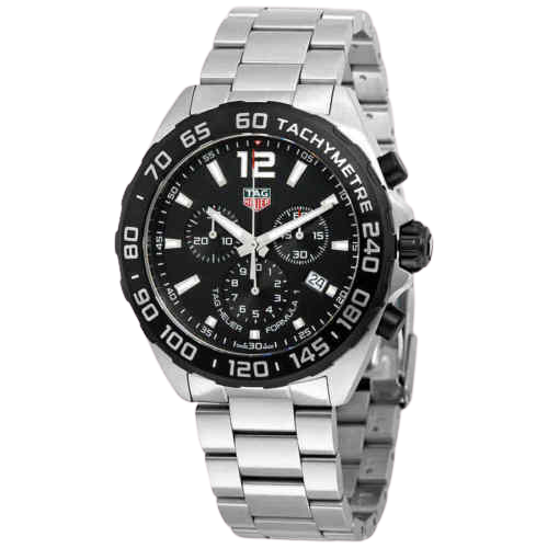 Silver TAG Heuer watch with black face and silver markings