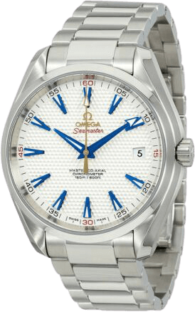 A silver Aqua Terra Ryder watch with a white face and blue accents.