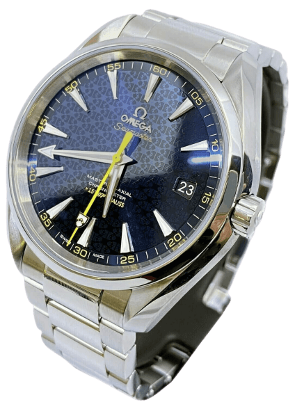 Aqua Terra with a blue face and gold accents bond's wrist watch.