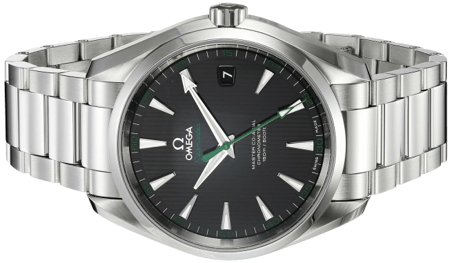A silver Omega Aqua Terra watch with a black face and silver accents.