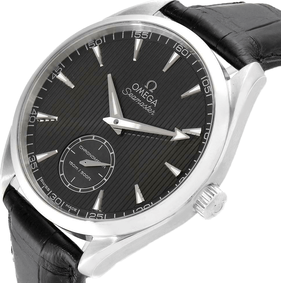 A black leather Omega Aqua Terra watch with a black face and silver accents.