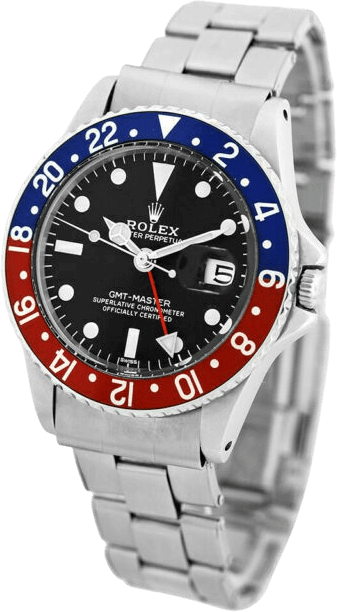 The Rolex GMT-Master watch with a black face and silver accents.