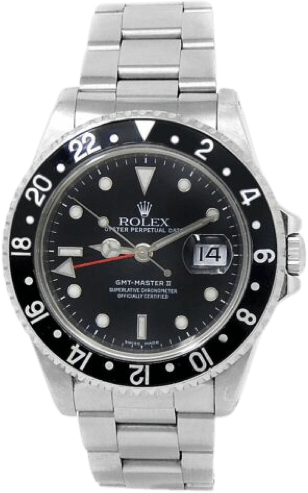 A silver Third Generation: GMT-Master II 11671x watch with a black face and silver accents.