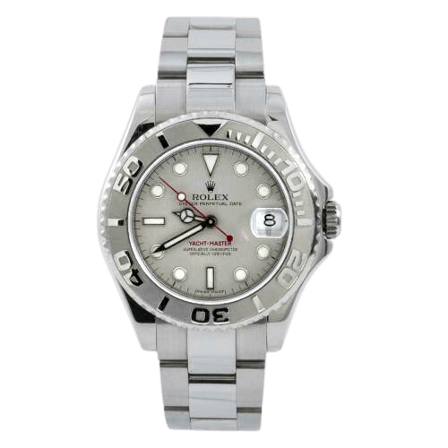 Silver Rolex watch face with white markings
