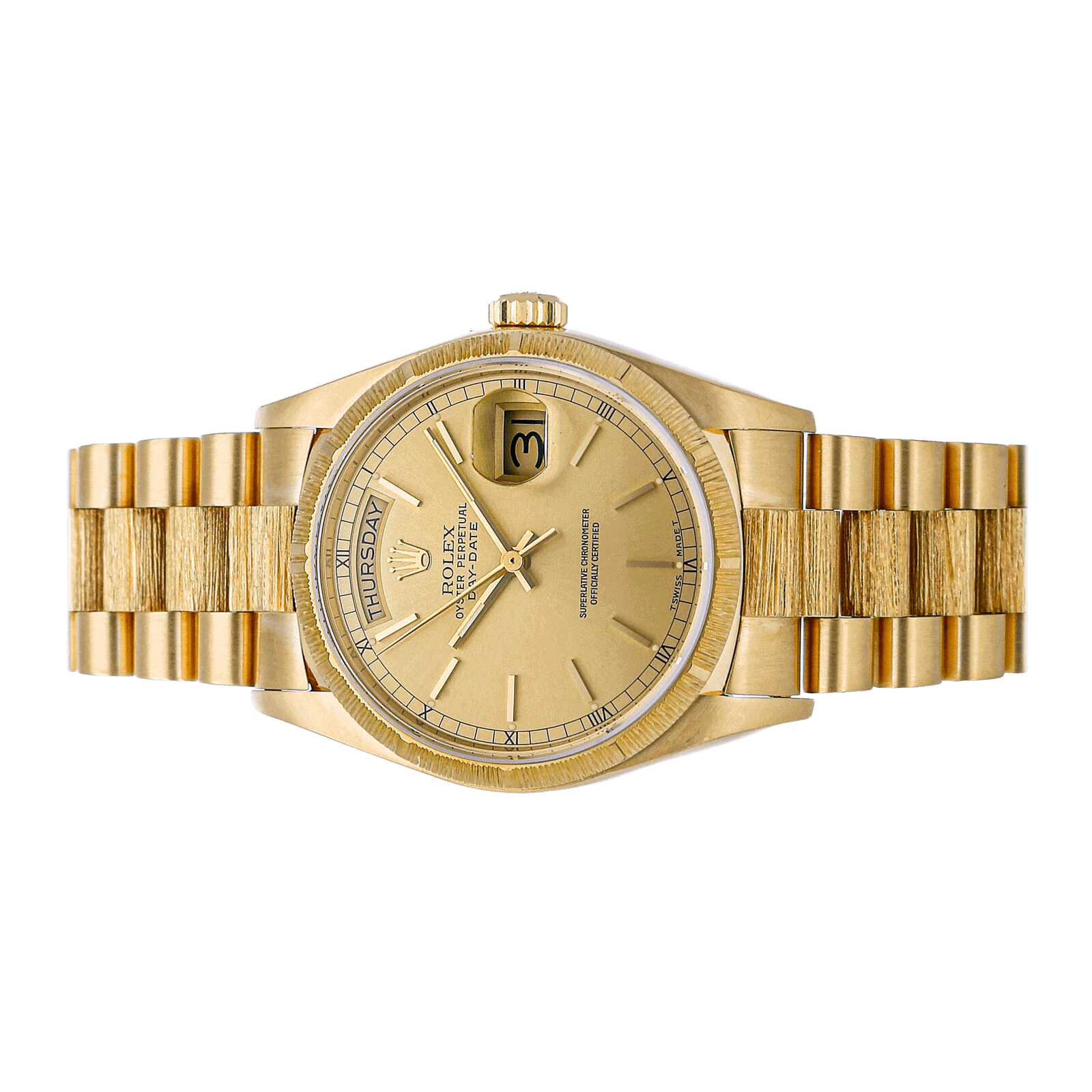 Rolex watch with golden dial with view of side angle