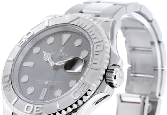 A silver Rolex watch with a gray face and silver accents.