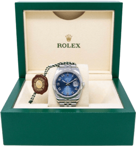 A silver Rolex watch with a blue face in a branded green box.