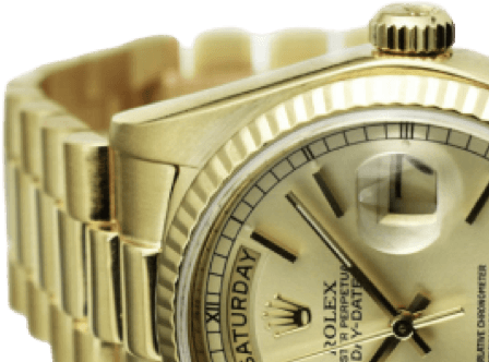 A gold Rolex watch with a gold face and black accents.