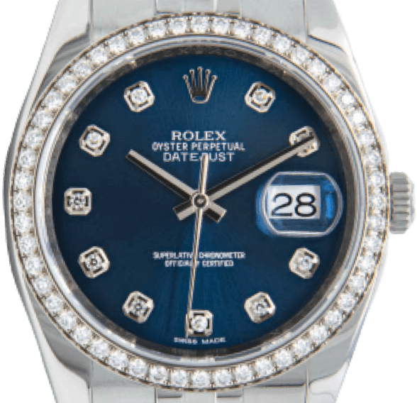 A silver Rolex watch with a blue face and silver accents.