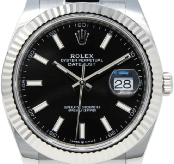A silver Rolex watch with a black face and silver accents.