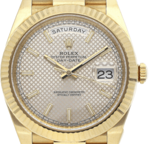 A gold Rolex watch with a patterned face and gold accents.