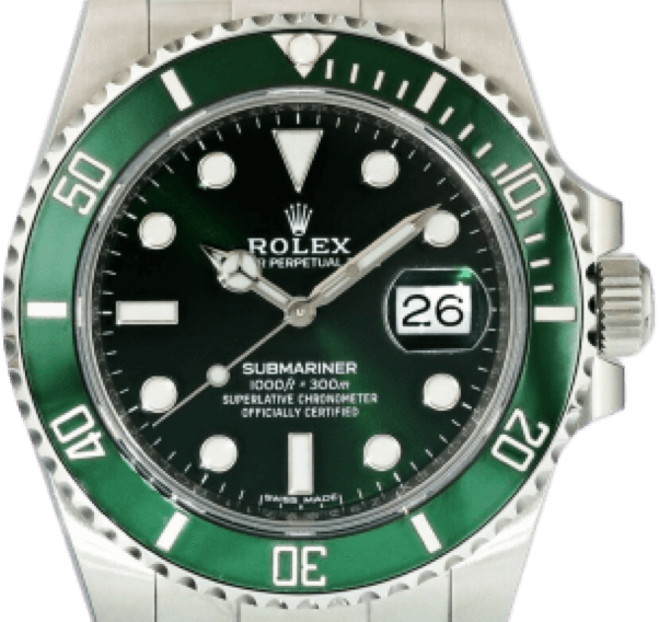 A silver Rolex watch with a green face and silver accents.
