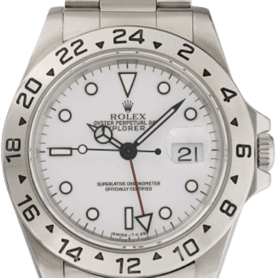 A silver Rolex watch with a white face and black accents.
