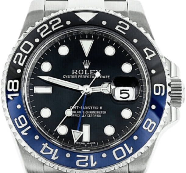 A silver Rolex watch with a black face, silver accents, and black and blue bezel.