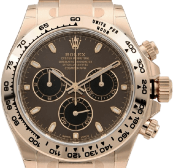 A rose gold Rolex watch with a dark face, and black and gold accents.