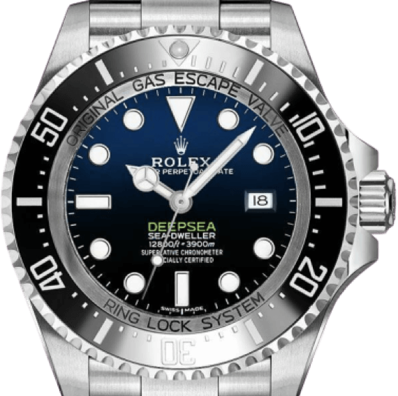 A silver Rolex watch with a blue face, silver accents, and a black bezel.