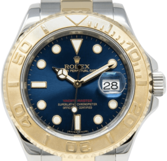 A gold and silver Rolex watch with a blue face and white and gold accents.