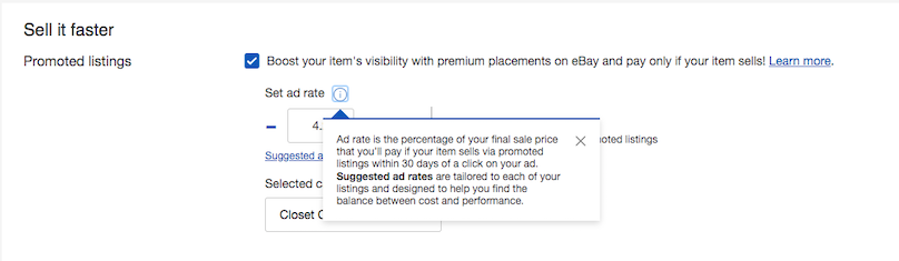 Sell it faster > Promoted Listings > Set ad rate