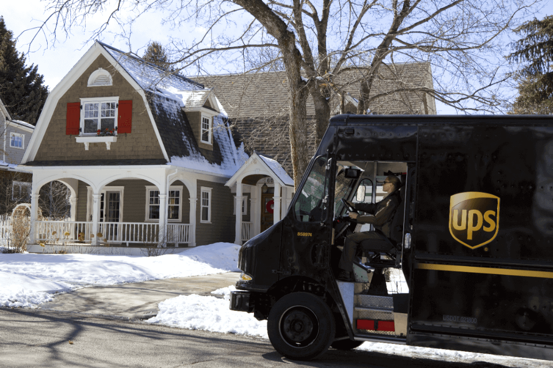 UPS truck in winter