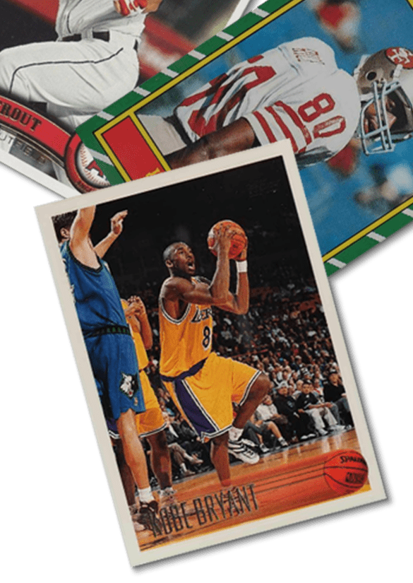 Three sports trading cards featuring a basketball player, a football player, and a baseball player fanned out on a bright lime green background.