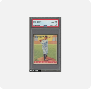 A Babe Ruth baseball trading card on a white background.