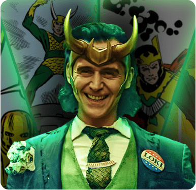 A graphic featuring multiple versions of the Marvel character, Loki.