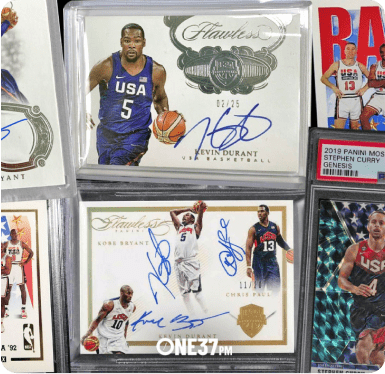 Multiple signed basketball cards featuring different players.