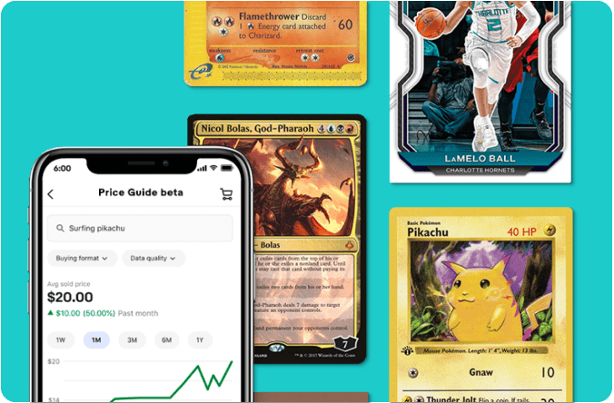 A sports, a Magic: The Gathering, and a Pokémon trading card along with a cell phone displaying the Trading Cards Price Guide beta screen on a teal background.