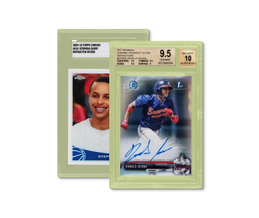Two sports trading cards on a bright lime green background.