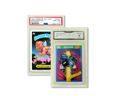 A Garbage Pail Kids and a Marvel Ghost Rider trading card on a light lime green background.