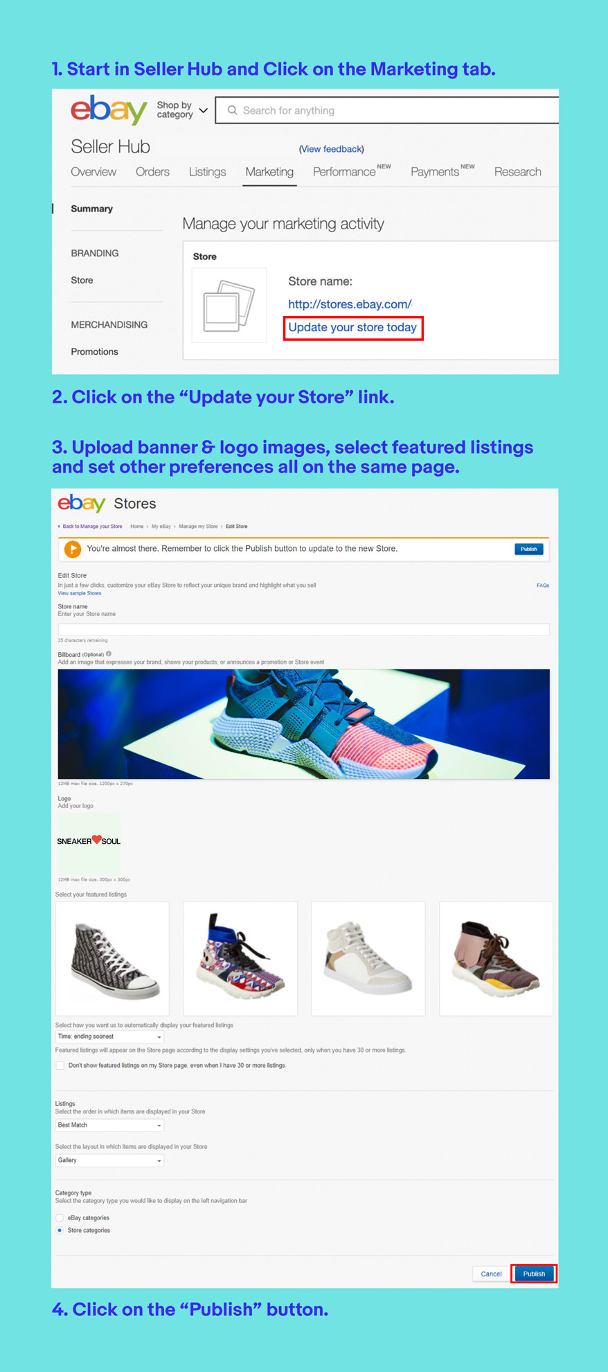 edit your store: steps 1 - 4