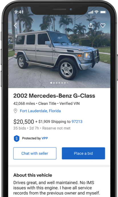 Smartphone showing a listing on the app.