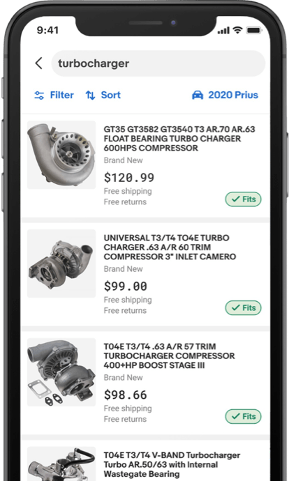 Smartphone with the Fitment Finder search page on the app.