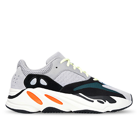 White sneaker with orange, green and black accent colors