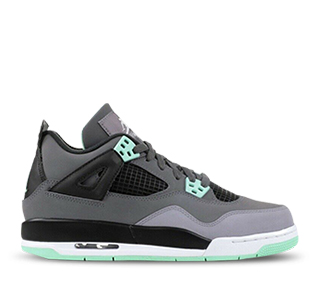 Gray sneaker with light blue and light green accent colors