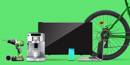 Verschiedene Artikel nebeneinander stehend. Z.B. eine Uhr, ein Bohrer, ein TV, ein Kaffeevollautomat. Darunter Text.